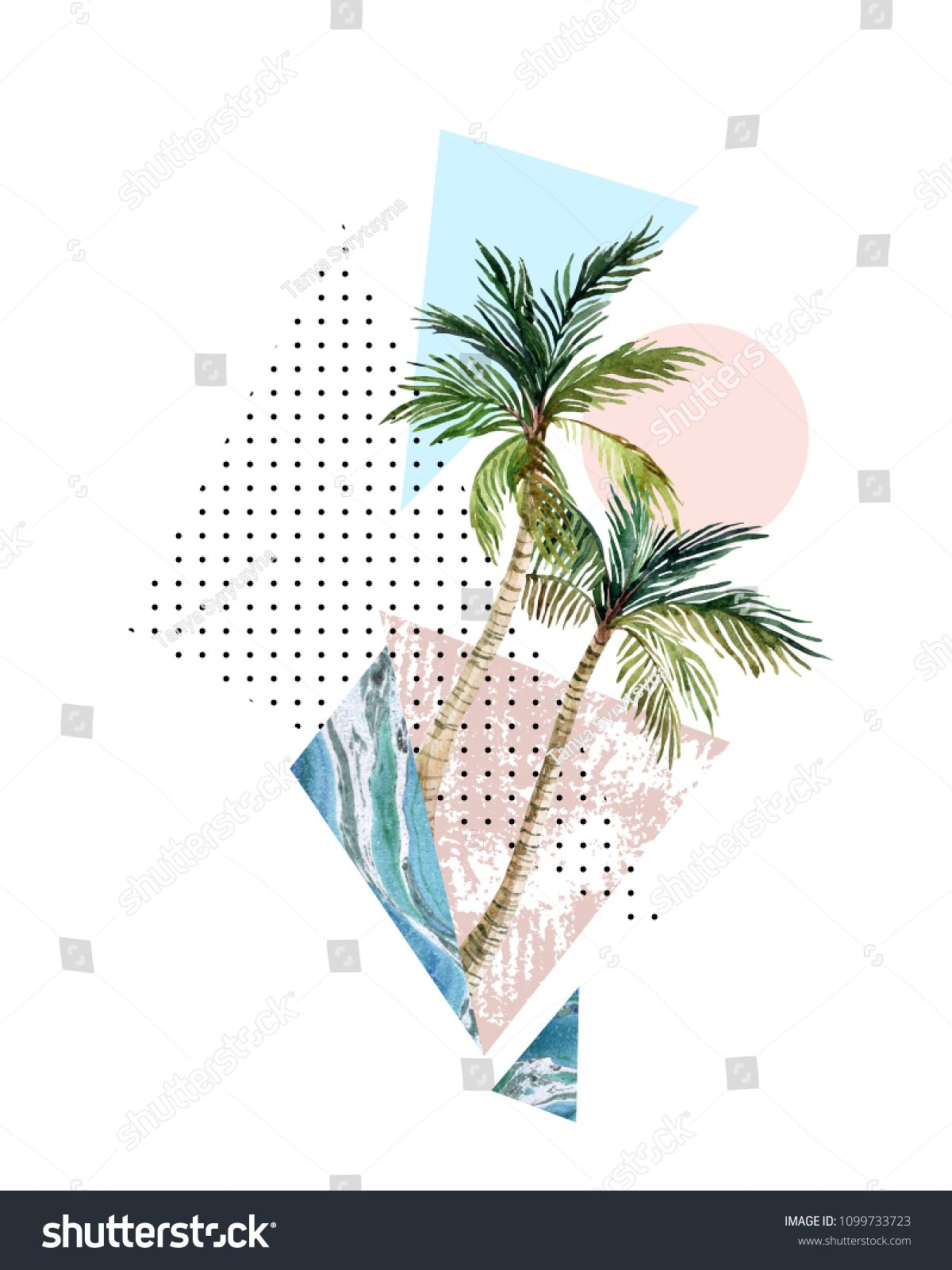 Abstract Summer Background Triangle Circle Watercolor Palm Tree