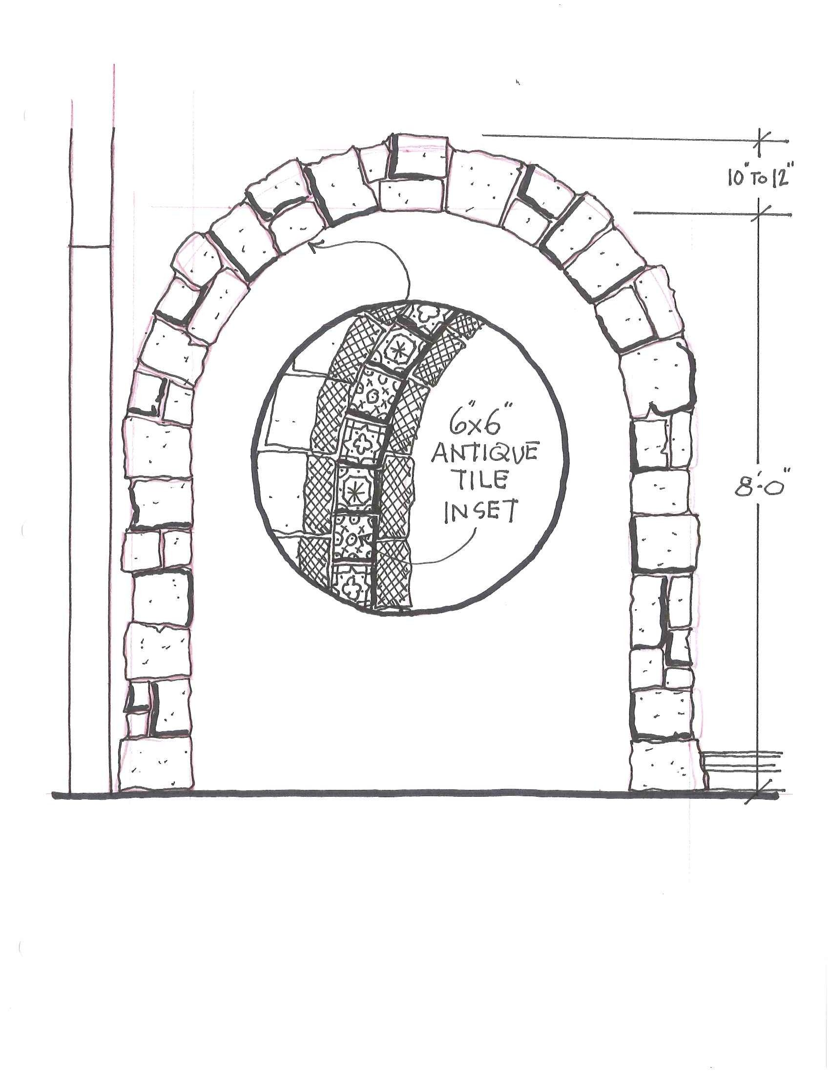 Archway Arch Stone Archway Antique Tiles Interior Design Drawing Sketch