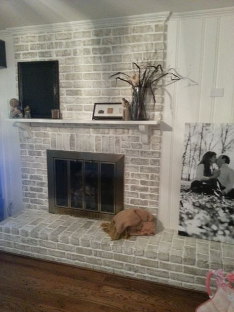 Grey paint wash on a brick fireplace before after for - How to make a brick fireplace look modern ...