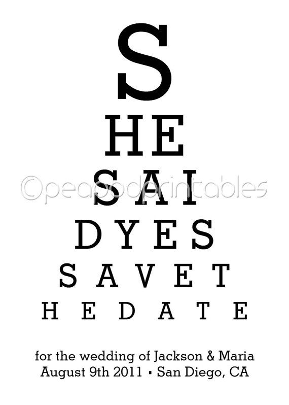 Funny Eye Chart Save The Date Great For By Peapodprintables 10 00 Medical School Graduation Party Ideas Eye Chart Medical School Graduation
