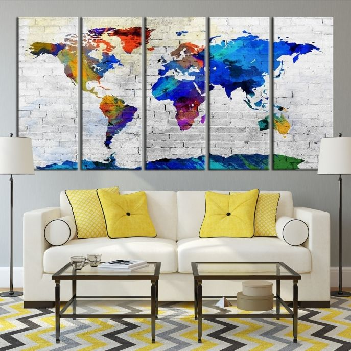 Large wall art canvas print colorful world map on white brick wall large wall art canvas print colorful world map on white brick wall background mygreatcanvas gumiabroncs Images