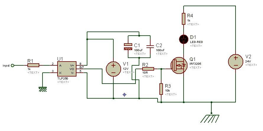 Isolated Mosfet Driver Tlp250 As A Low Side Driver Circuit Diagram Circuit Diagram