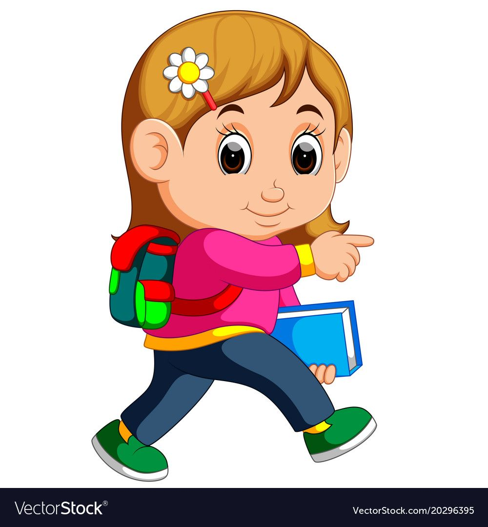 school girl cartoon walking vector image on vectorstock school cartoon girl cartoon anime child school girl cartoon walking vector