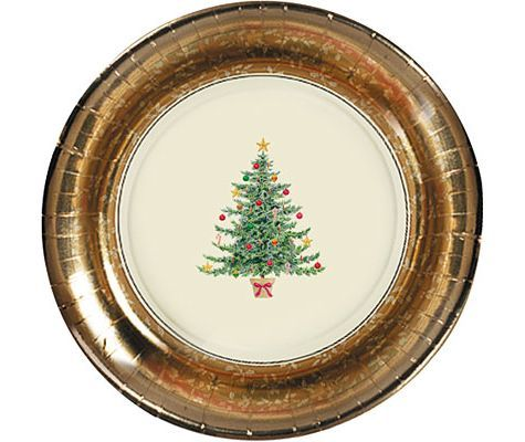 Victorian Tree Metallic Appetizer And Dessert Plates 8ct Party City Classic Christmas Tree Plates Christmas Plates