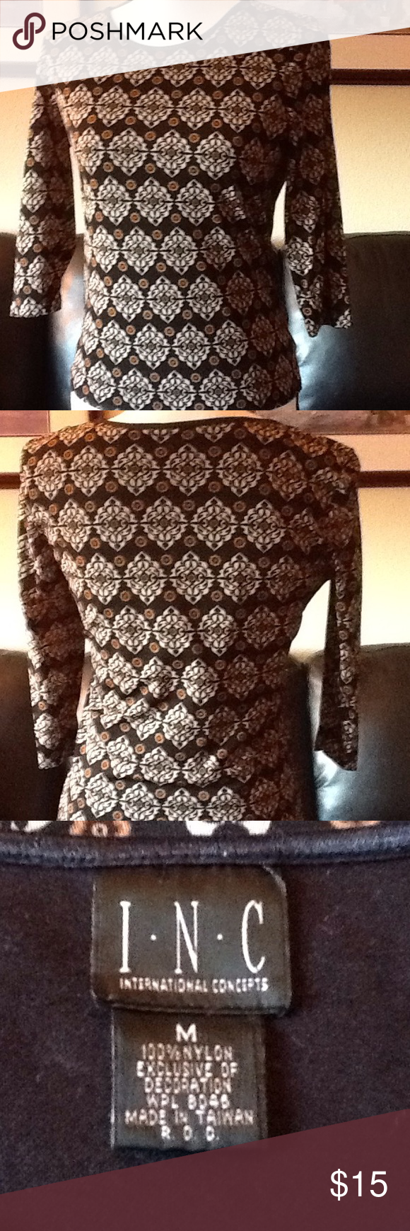 Inc 3/4 sleeve top 100% nylon, hand wash. Runs small. Used condition with normal wear. INC Tops