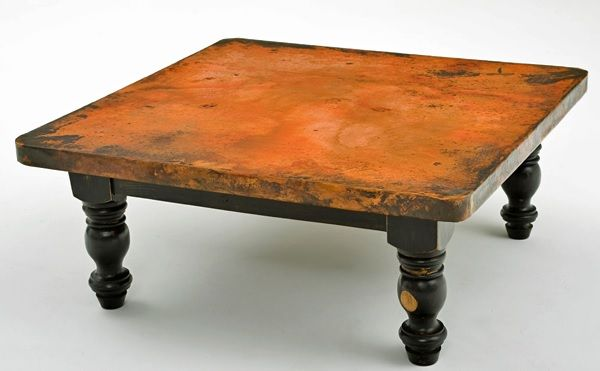 Hand Hammered Copper Coffee Table Wood Pedestal Base 2 Item Ct03018