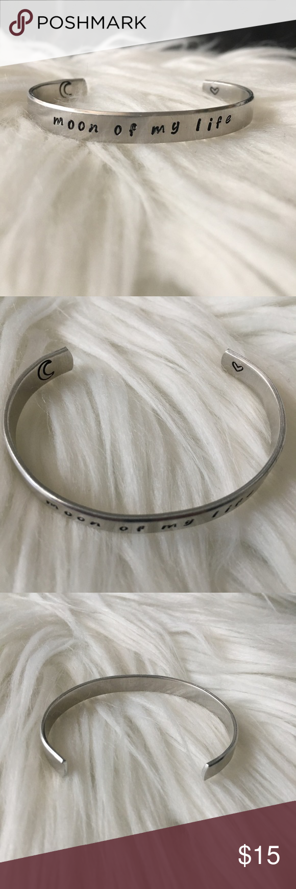 "Moon of My Life Bracelet (Game of Thrones) This is a metal (not sure what kind) bracelet with the inscription, ""moon of my life"" on the top. It also has a crescent moon and a heart inscribed on the inside. Game of Thrones Jewelry Bracelets #myposhpicks"