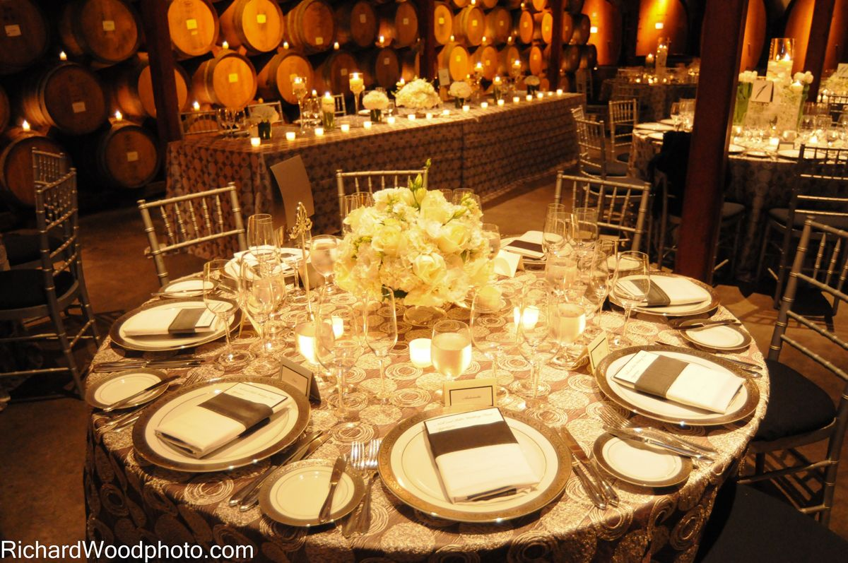Tavolo Reception ~ Elegant silver white wedding reception flowers linens same