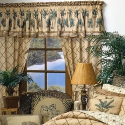 Kona Palm Tree Curtains Valance Bamboo Curtains Tree Curtains Coastal Beach Decor