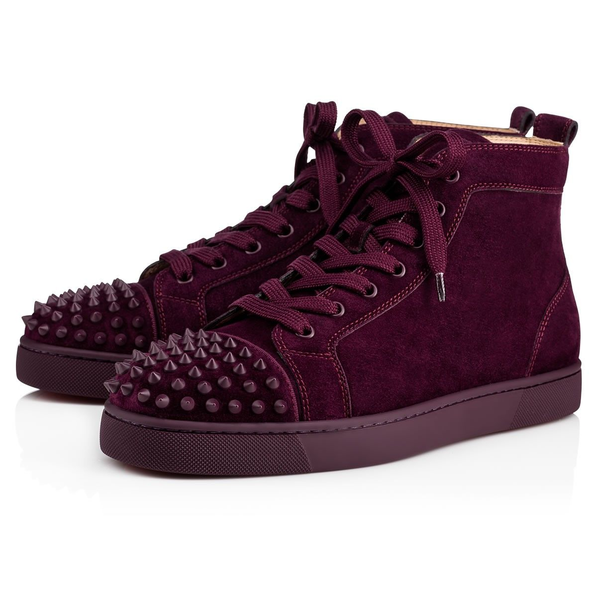 Christian Louboutin United States Official Online Boutique - Lou Spikes  Orlato Flat Merlot/Merlot Mat Suede available online. Discover more Men  Shoes by ...