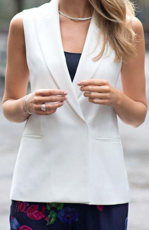 white vest + floral harem pants