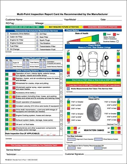 Auto Repair Multi Point Inspection Forms 2 Part NCR 250