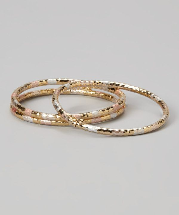 Look at this Tri-Tone Diamond-Cut Bangle Set on #zulily today!
