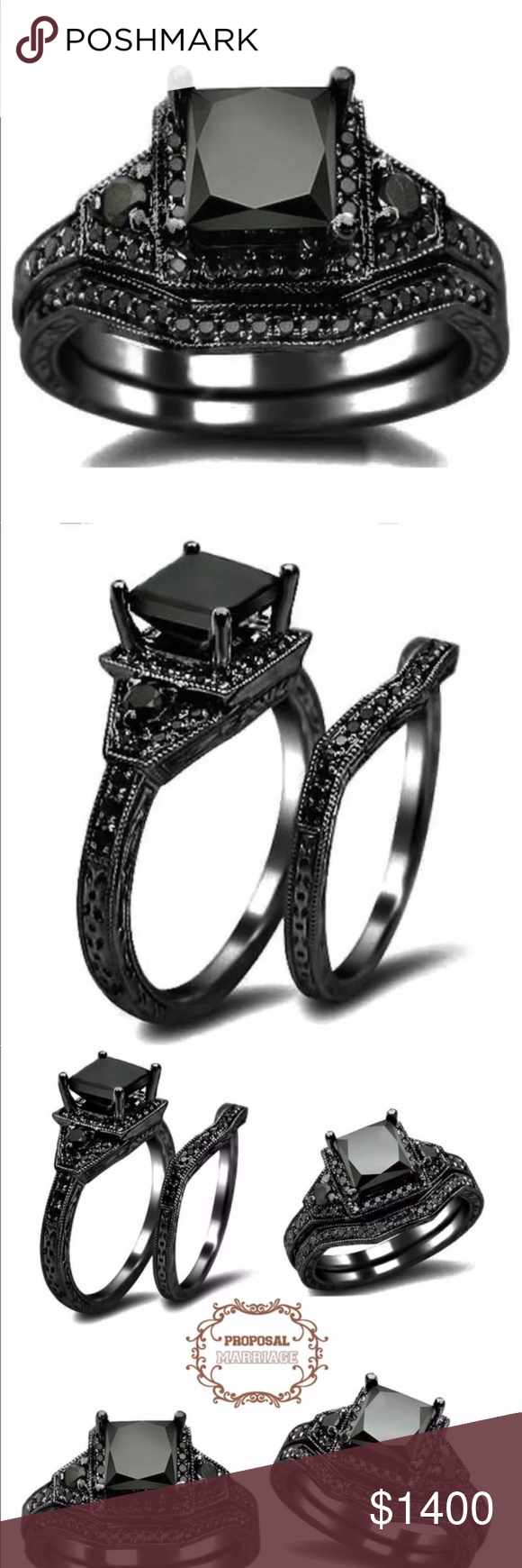 Black Gold Black Diamond Princess Engagement Set 7 NWT