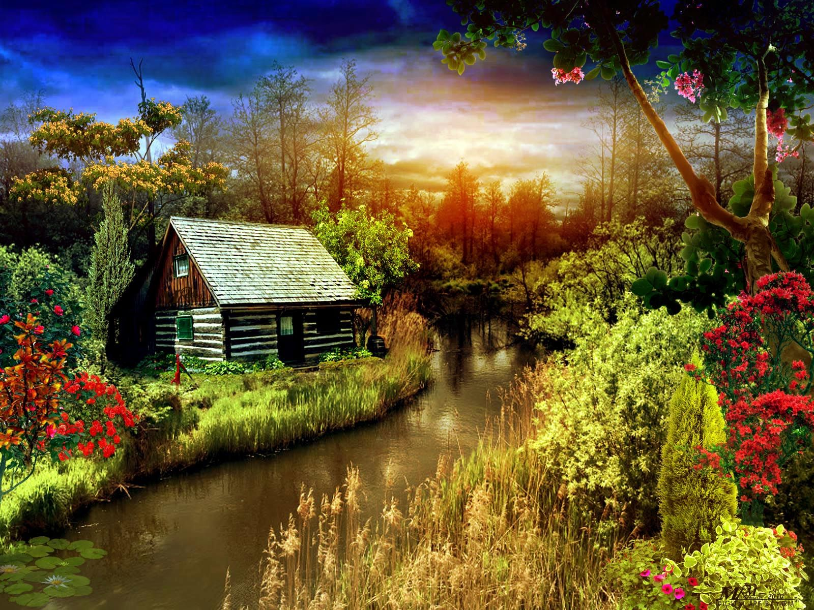 Fantasy Houses Pictures Fantasy Flowers Grass House Landscape Nature Sunset Trees Beautiful Scenery Nature House Landscape Scenery