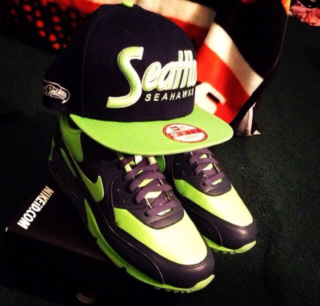 9e93a36677f By far my favorite sneaker hat combo. Custom Nike ID Air Max 90 with matching  Seattle Seahawks snapback.