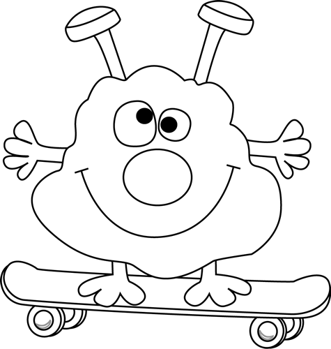 Black and White Monster on a Skateboard Clip Art - Black and White Monster on a Skateboard Image