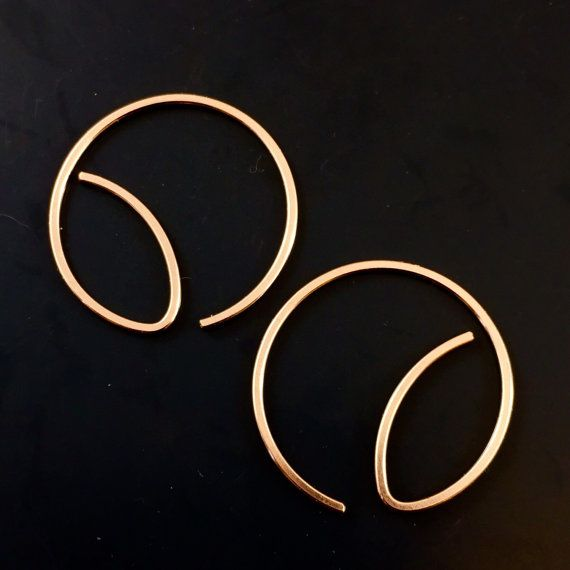 Small Rose Gold HOOP Earrings. Rose Gold by CecileStewartJewelry