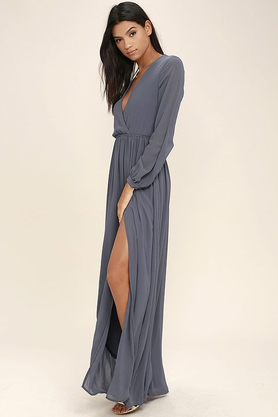 963fa491dd8 Take a moment to marvel at the sheer beauty of the Wondrous Water Lilies  Slate Grey Maxi Dress! Lightweight chiffon shapes a surplice bodice framed  by sheer ...