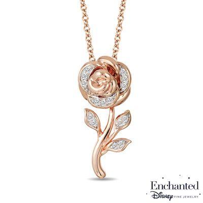 Enchanted Disney Belle 1 10 Ct T W Diamond Rose Pendant