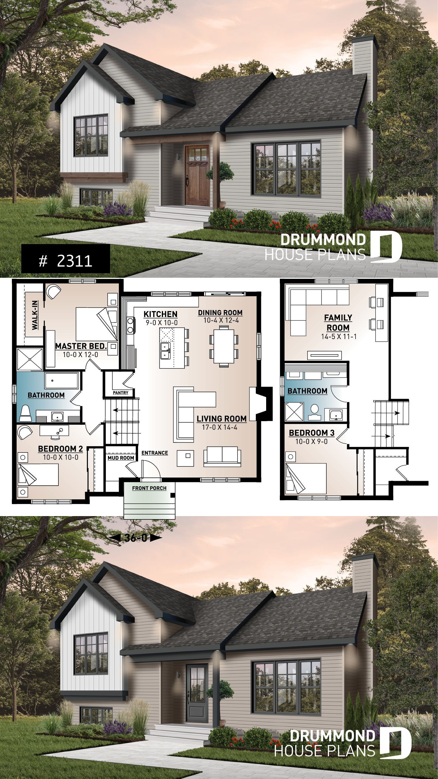 Small 3 Bedroom Farmhouse With Open Space Cathedral Ceiling Pantry Mud Room And Split Level Kitchen B Sims House Plans Split Level House Plans House Plans