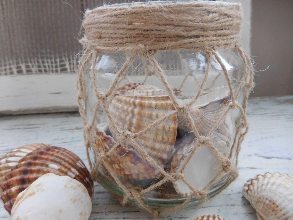 maritimes wind licht muschel glas beach deko makrame strand fischernetz in m bel wohnen. Black Bedroom Furniture Sets. Home Design Ideas