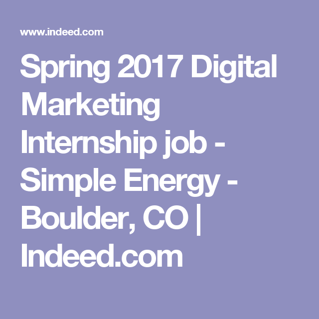 Spring  Digital Marketing Internship Job  Simple Energy