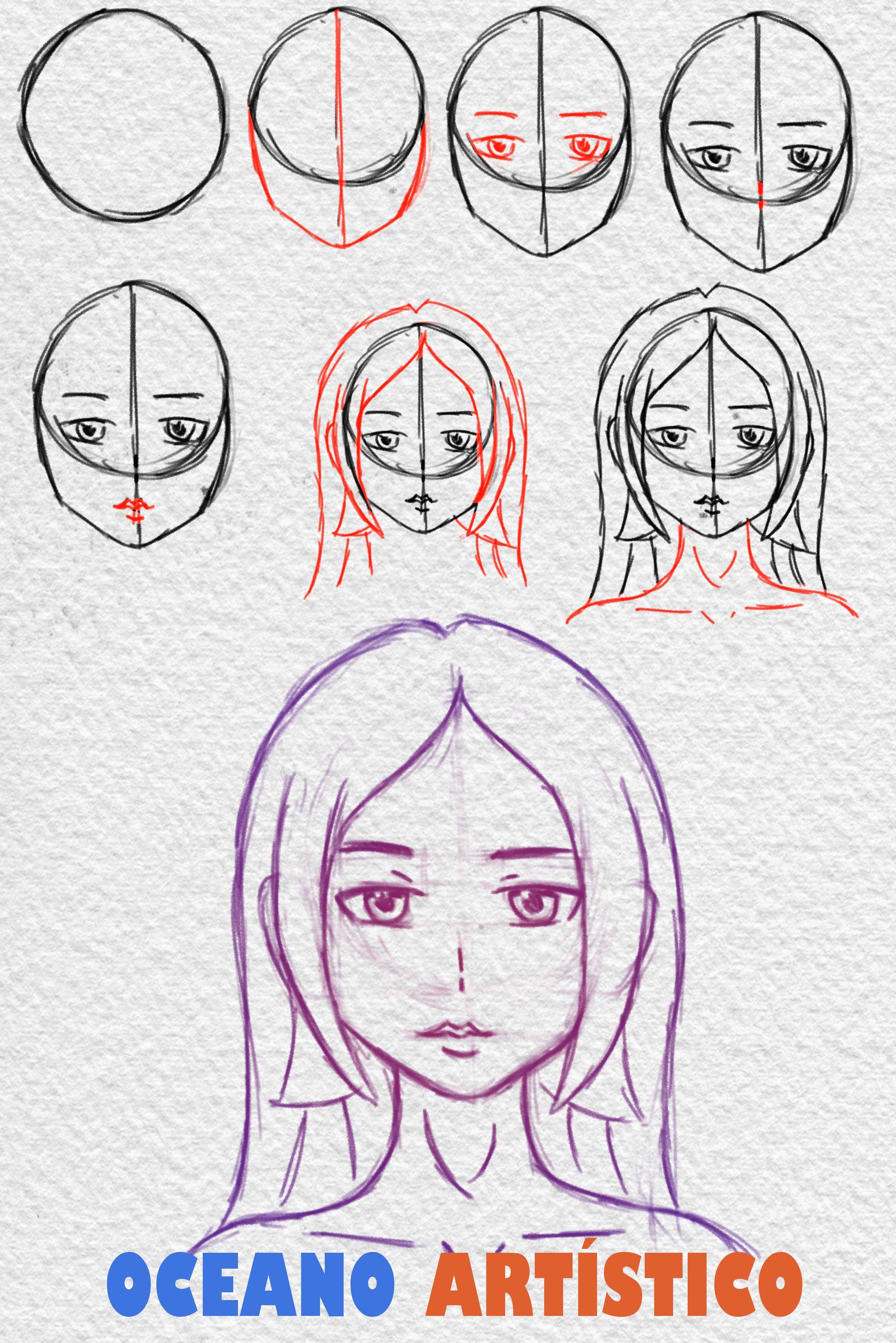 Como Desenhar Rosto De Anime Feminino De Frente Passo A Passo Em 2020 Desenhos De Rostos Desenho De Rosto Simples Desenho De Rosto