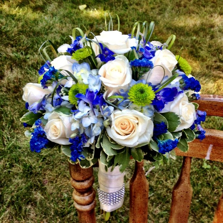 Royal Blue And Silver Wedding Flowers: Bridal Bouquet For Royal Blue Wedding By Blossoming