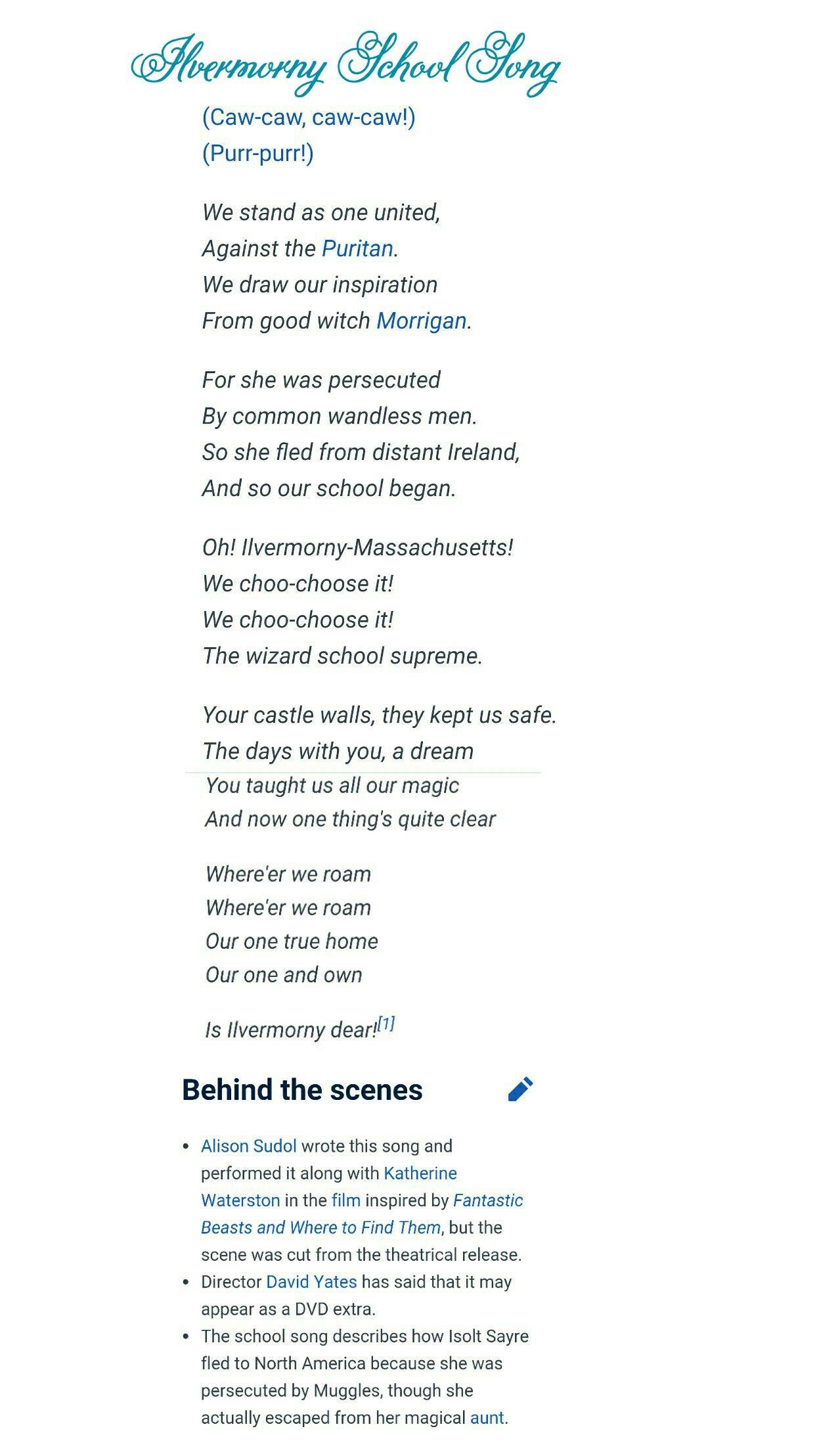 So Much Better Than Freakin Hogwarts Hogwarts Hoggy Warty Hogwarts Teach Us Something Please Seriously This Is School Song Lyrics Ilvermorny School Songs