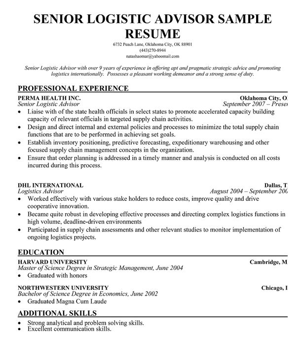 senior logistic management resume SENIOR LOGISTICS ADVISOR RESUME