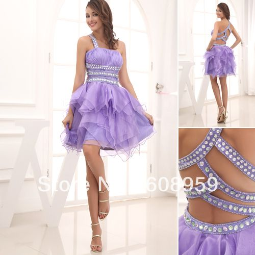Purple One Shoulder Backless Sexy Cute Cheap Short Graduation ...