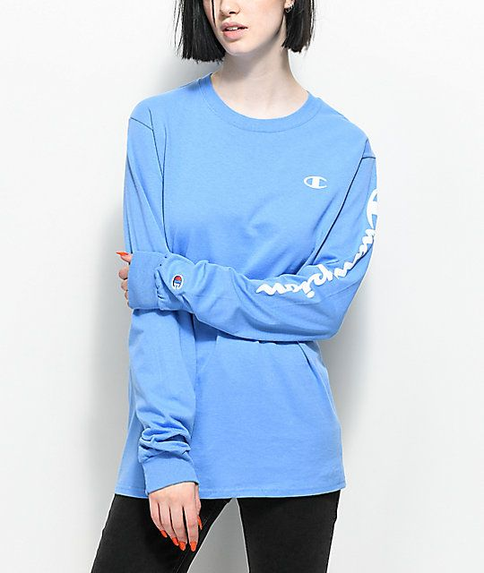 dafe9bc990c7 Champion Script Light Blue Long Sleeve T-Shirt | Fashiøn | Blue ...