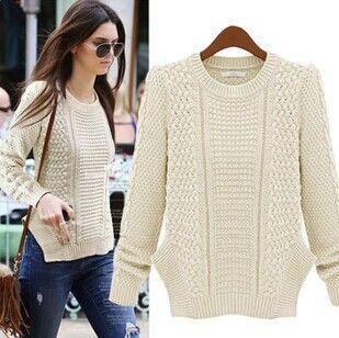 Cheap 2014 moda cálida invierno jersey mujer jersey mujer delgada Vintage  prendas de punto largo manga del o cuello de lana de gran tamaño de punto  suéteres ... c4547efecaf8