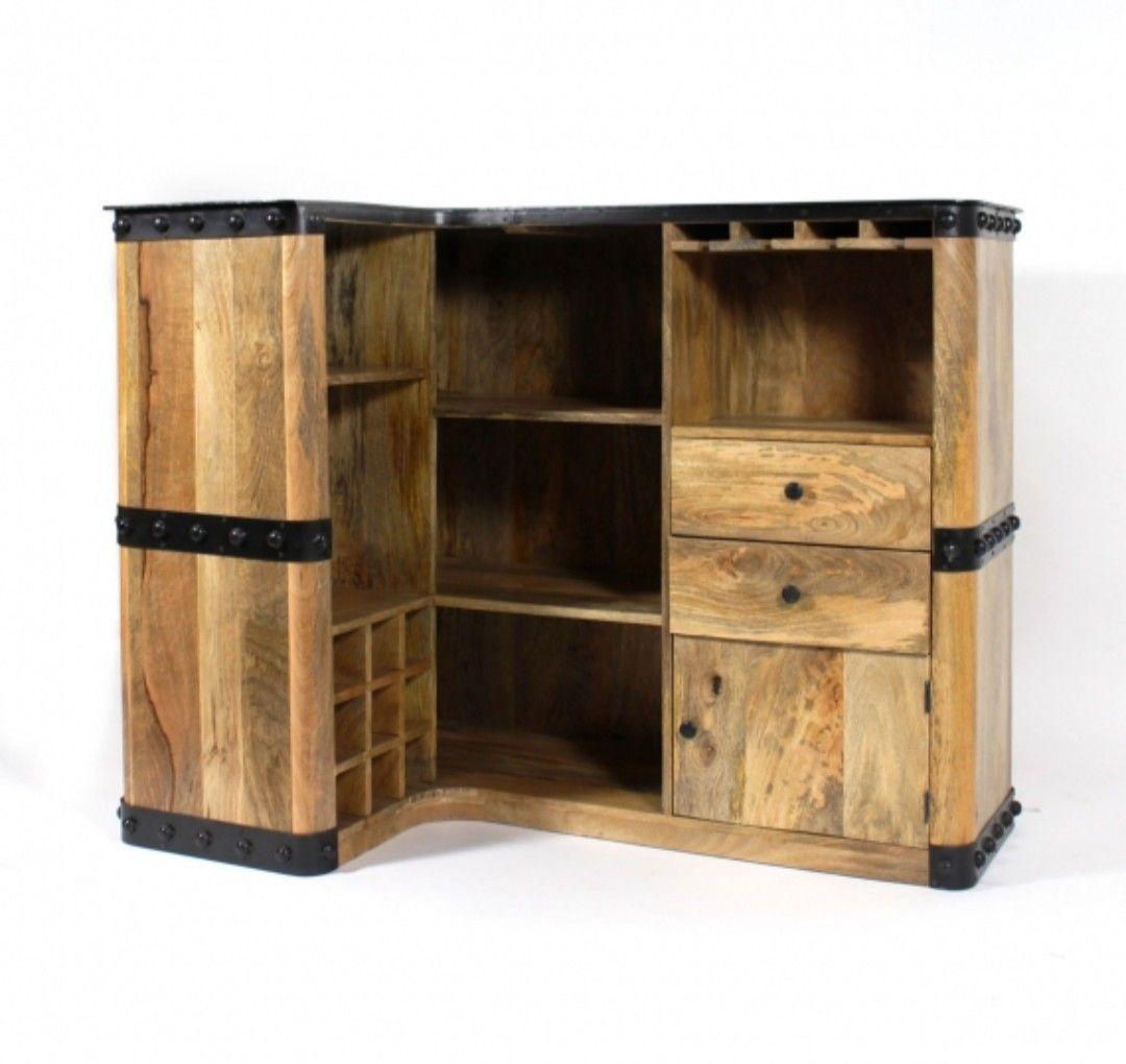 Meuble Mini Bar D Angle meuble d'angle, style industriel, bois, bar | bois metal