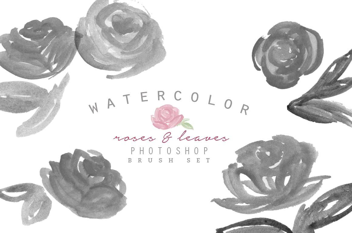 Watercolor Photoshop Brush Roses Located Zip Abr File