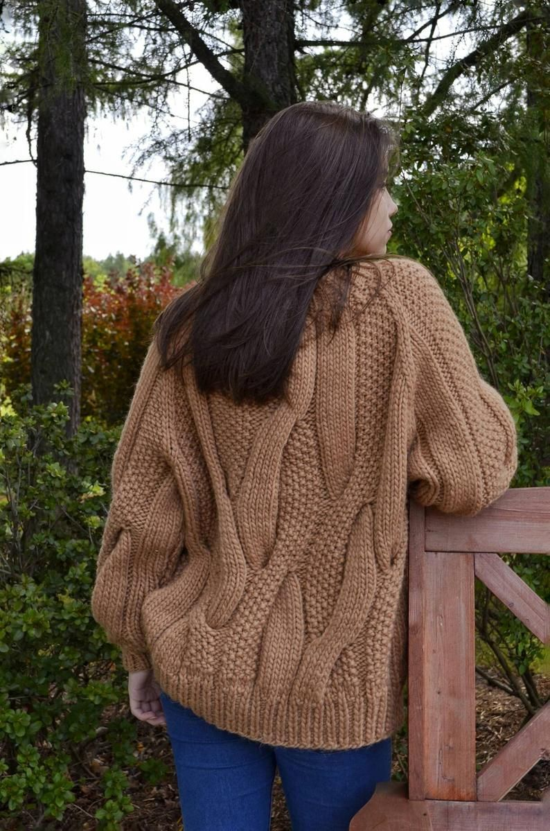 Cable knit oversized sweater, chunky knitwear pull