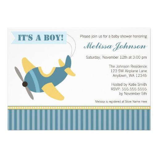 Airplane Stripes Boy Baby Shower Invitations