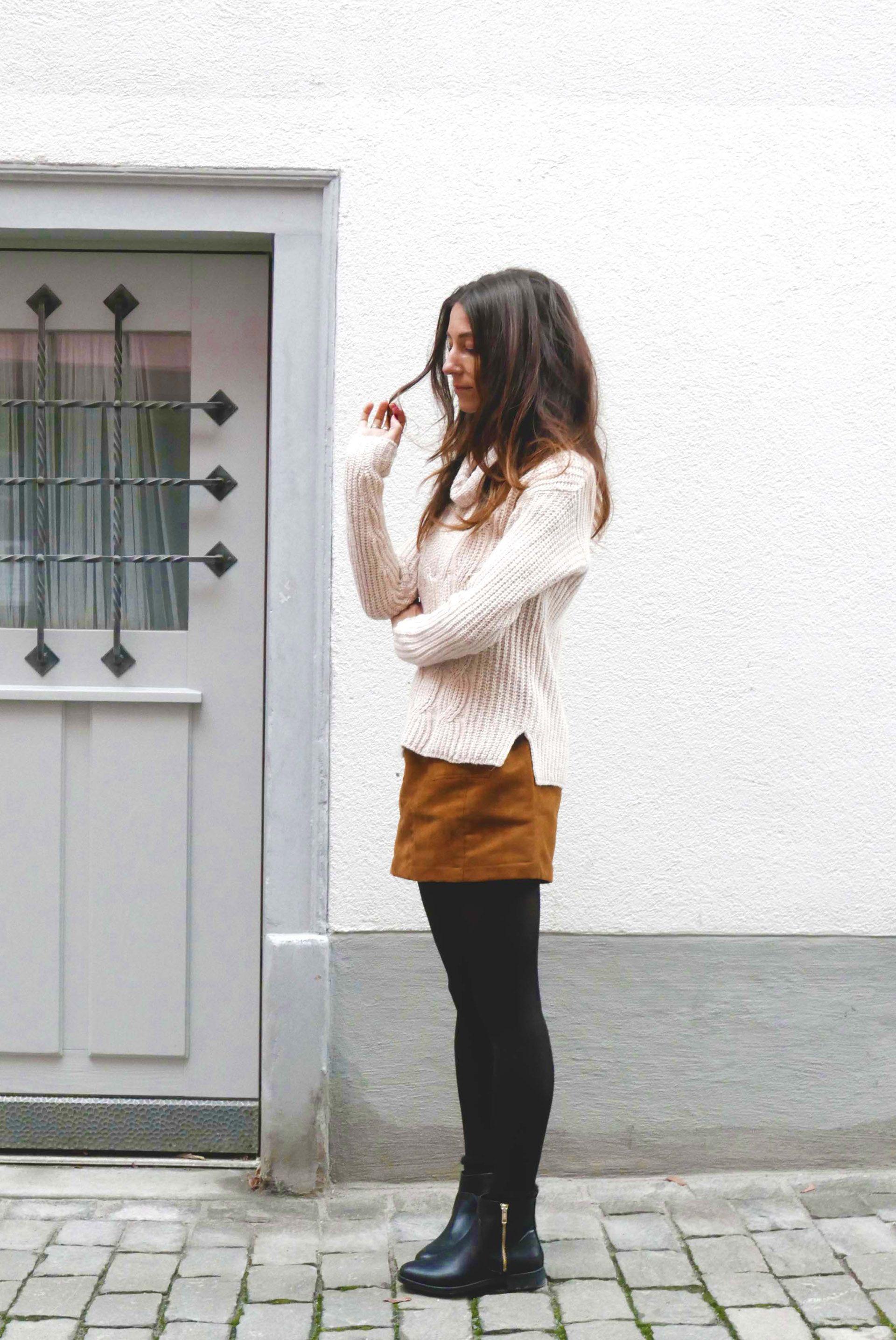 turtleneck sweater with side slits, suede skirt, black tights ...
