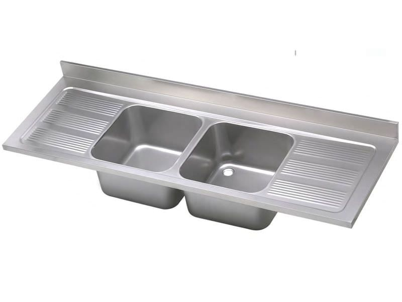 Double Kitchen Sink Stainless Steel With Drainboard Industrial