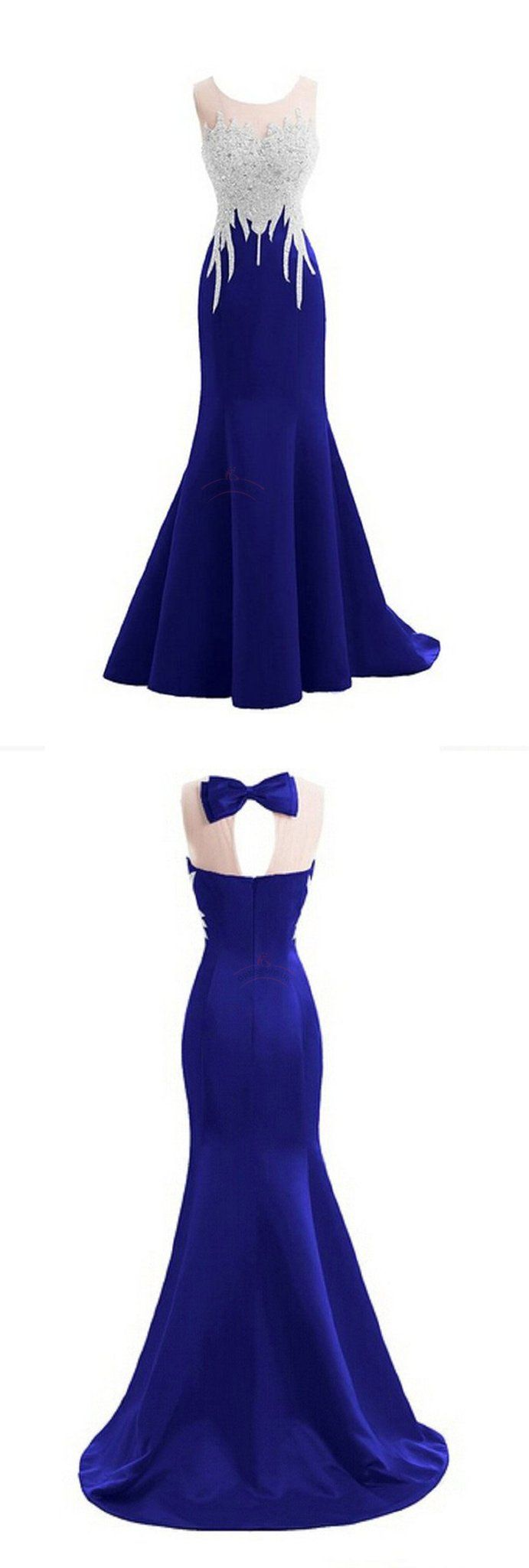 Sexy prom dresses scoop royal blue short train long prom dress