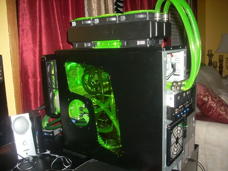 Green Black Computer Pc Tower Setup Liquid Cooled Custom