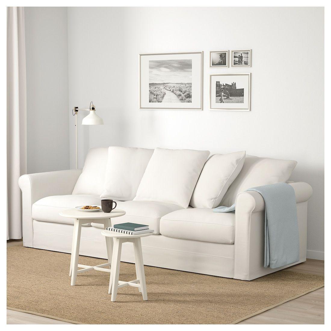 GRÖNLID Sofa Inseros white Deep seat cushions, Dark
