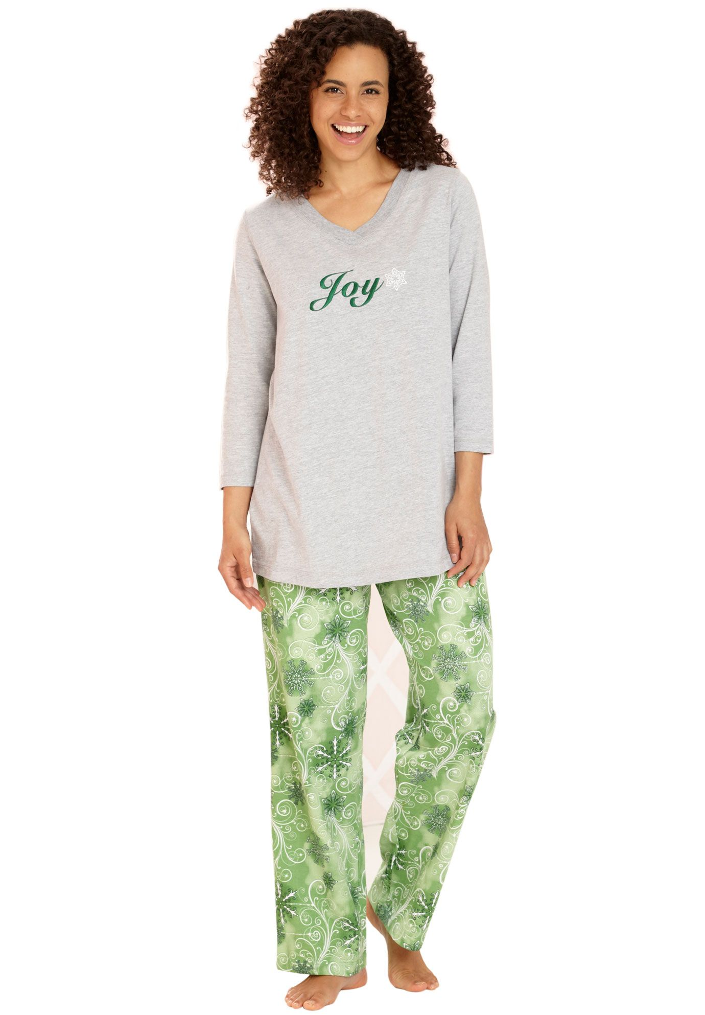 For Karen Joy 3 4 Sleeve Pajama Set By Dreams Co Green Snow Swirl Plus Size 60 Off Sleep Collect Plus Size Pajamas Plus Size Sleepwear Pajama Set Women