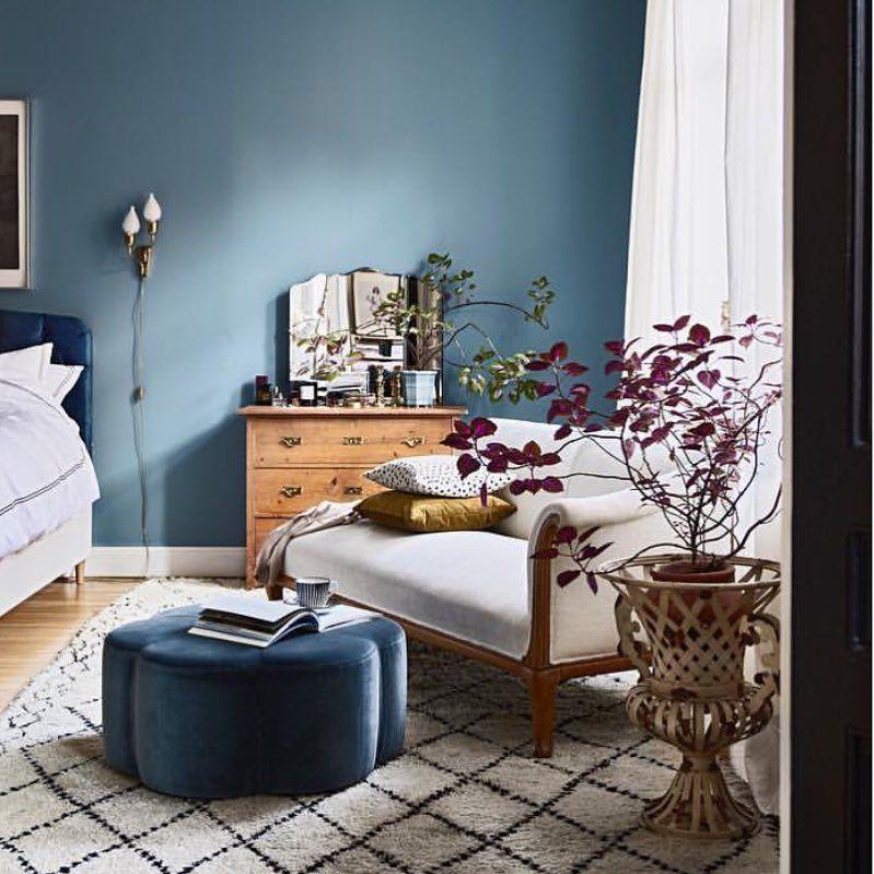 Bedroom Green Bedroom Ceiling Bedroom Kitchenette Bedroom Colors That Go With Brown Furniture: Smoky Blue. @sasa.anti's Bedroom/ Via @elledecorationuk