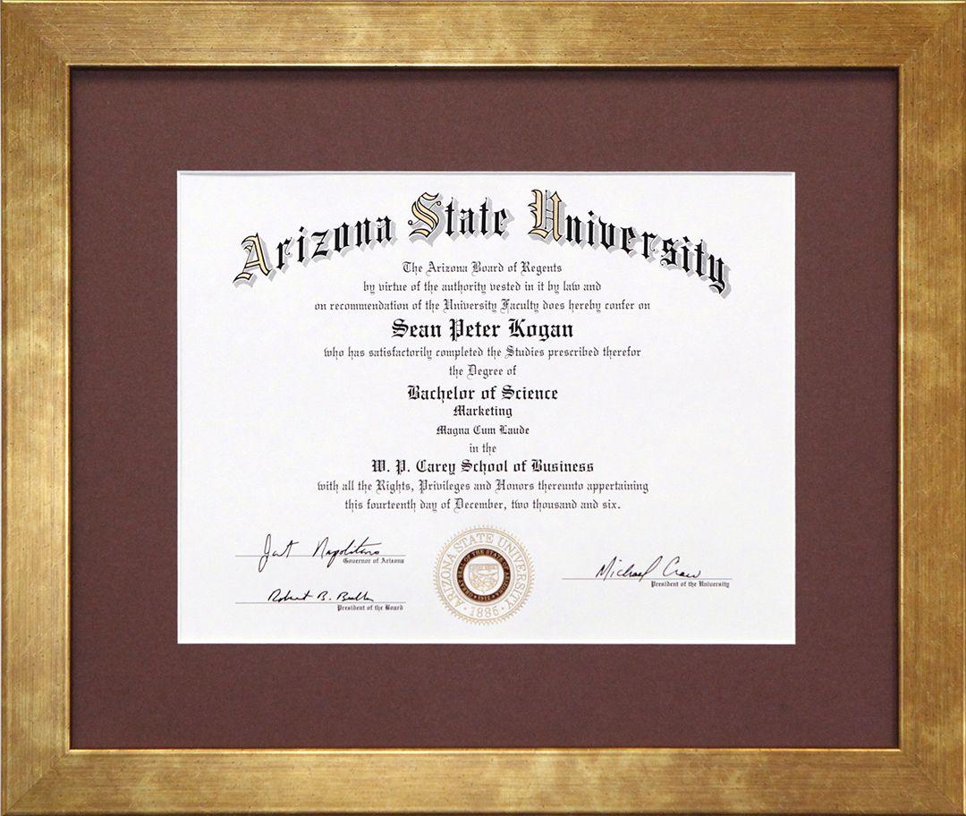 Asu Diploma Diplomas Documents Pinterest Frame Custom