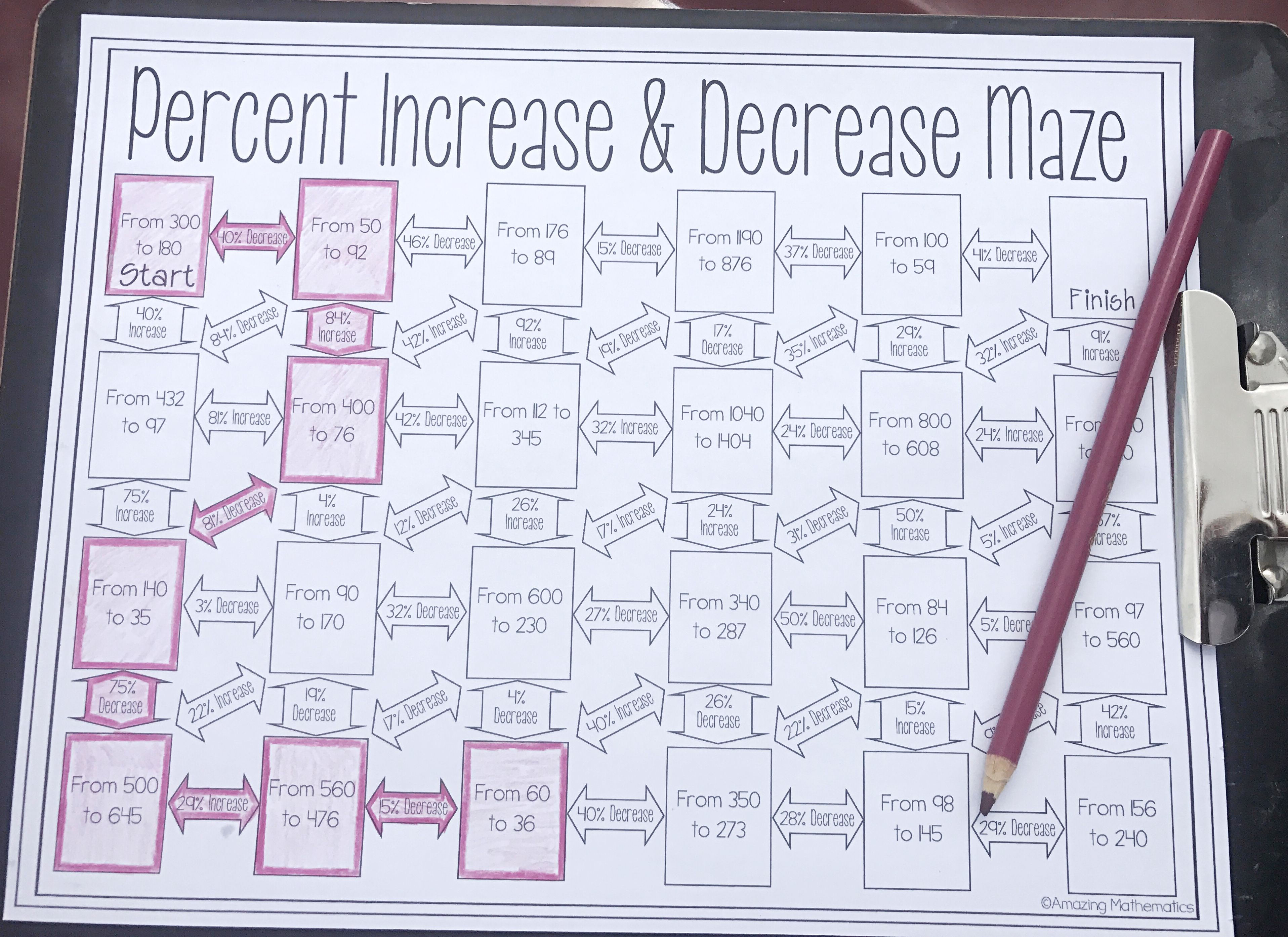 Percent Increase And Decrease Maze Worksheet Middle School Math