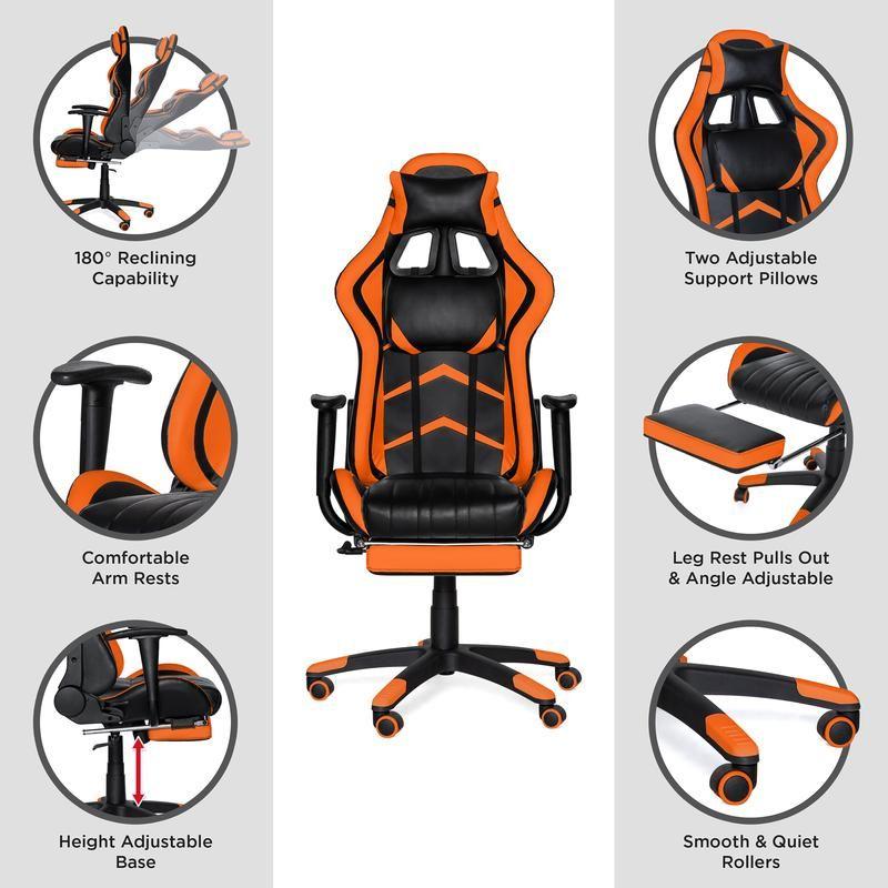 Ergonomic swivel reclining office gaming chair w footrest