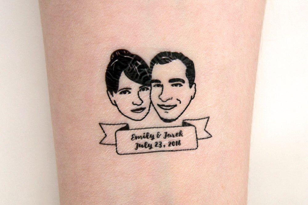 Portrait Tattoo Custom Temporary Tattoos Wedding Bride Gift Favors For