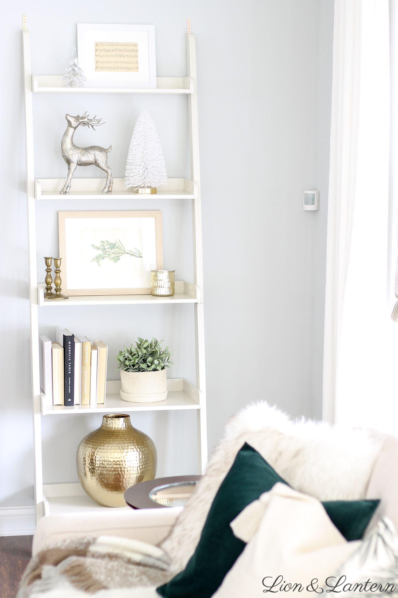 White Ladder Shelf Decor Ideas